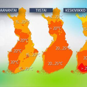 Ylimmät säälämpötilat maanantaista keskiviikkoon.