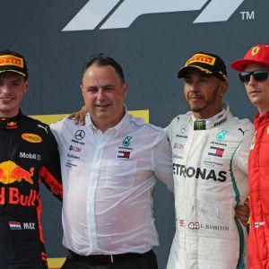 Max Verstappen, Lewis Hamilton ja Kimi Räikkönen