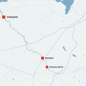 Kartta, johon on merkitty Siikajoki, Ruukki ja Pehkolantie.