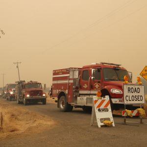 Jono paloautoja seisoo tiellä. Edessä kyltti, joka kertoo tien olevan suljettu. Ilma näyttää savusta sakealta.
