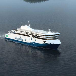 Luonnos Merenkurkkuun suunnitellusta uudesta laivasta.