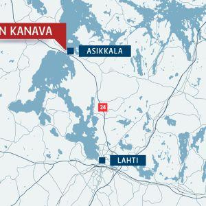 Kartta jossa merkittynä Asikkala ja Vääksyn kanava, sekä Lahti.
