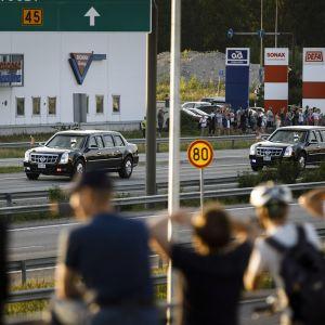 Donald Trump saapuu Suomeen.