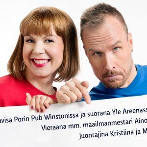 Kuvassa Kristiina ja Mikko Kekäläinen, jotka juontavat urheiluvisan Porissa 18.7.