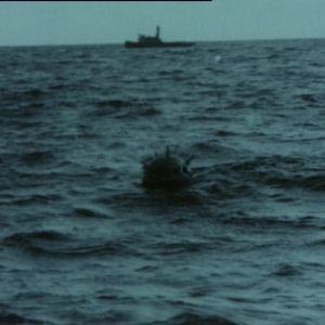 Merimiina kelluu meressä taustalla alus.