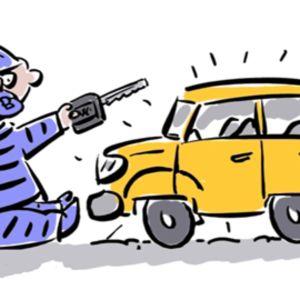 Piirros, jossa vauva istuu maassa helistin ja autonavain kädessään sekä tutti suussaan, vieressään uutuuttaan kiiltävä henkilöauto.