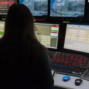 TV-studion ohjaamo.