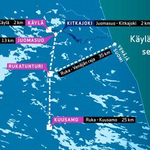 Kartta Juomasuon kullantutkimusalueen sijainnista.