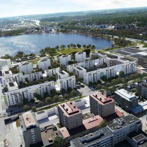 Ilmahavainnekuva Hämeensaaren alueesen pohjoisesta katsottuna