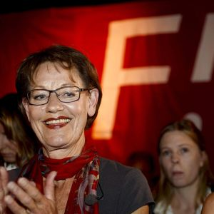 Gudrun Schyman Feministinen aloite -puolueen vaalivalvojaisissa sunnuntaina.