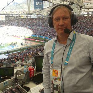 Hannu-Pekka Hänninen jalkapallon MM-kisoissa Brasiliassa.