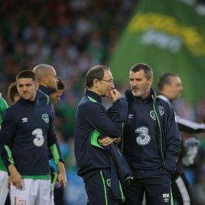 Irlannin valmentajat Martin O'Neill ja Roy Keane.