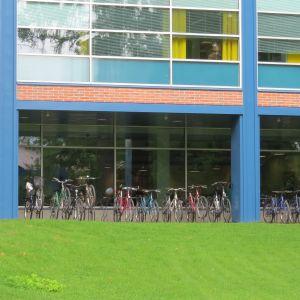 Yliopiston T- rakennus ja opiskelijoiden pyöriä