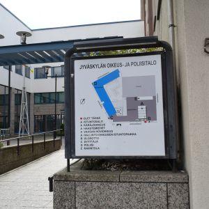 Jyväskylän oikeus- ja poliisitalon infokartta