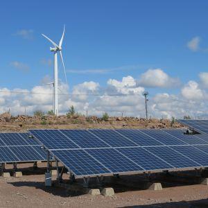 Aurinkopaneeleja riveissä Haminan Mäkelänkankaan aurinkovoimalaitoksessa. Taustalla tuulivoimala.