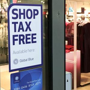 Tax-free tarra kaupan ovessa