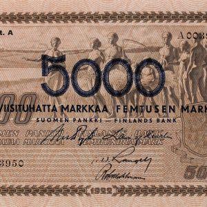 500 mk setelin päälle painettu 5000mk.
