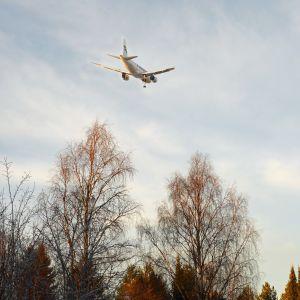 Finnarin kone laskeutumassa Rovaniemelle.