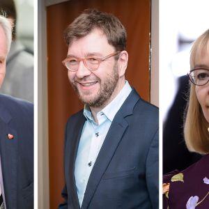 Vasemmalta oikealle: Antti Rinne, Timo Harakka, Tytti Tuppurainen