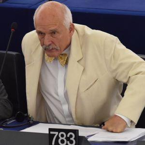 Puolalainen Euroopan parlamentin jäsen Janusz Korwin-Mikke.