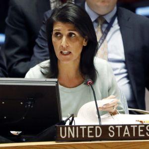 Yhdysvaltain YK-suurlähettiläs Nikki Haley.