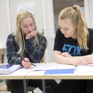 Kaksi nuorta tekemässä tehtäviä tunnilla.
