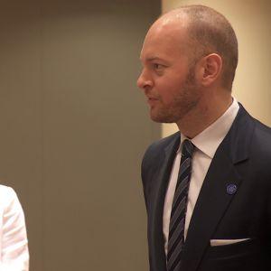 Eurooppaministeri Sampo Terho (ps.) keskusteli ministerineuvoston kokouksessa EU-komission varapuheenjohtajan Frans Timmermansin kanssa.