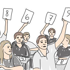 Oppilaita luokassa -piirros