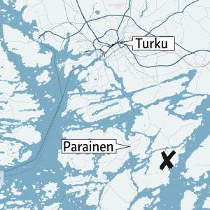 Kartta, missä onnettomuuspaikka Lemlahdentiellä.