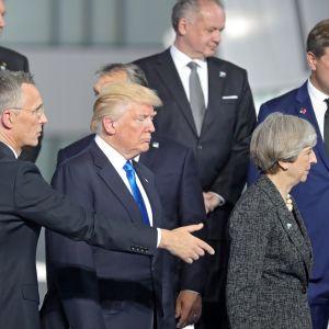 Stoltenberg ohjaa Turmpia, joka katsoo totisena maahan.