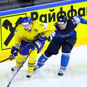 John Klingberg ja Mika Pyörälä 2017 MM-välierässä.