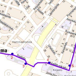 Kartta opastetusta reitistä Rovaniemen rautatieasemalta Lordín aukiolle