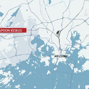 kartta jossa espoon keskus
