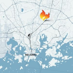 Tulipalopaikka kartalla.
