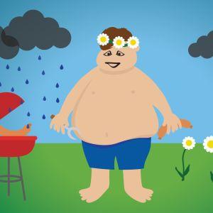 Kuvituskuva miehestä, joka grillaa sateessa.