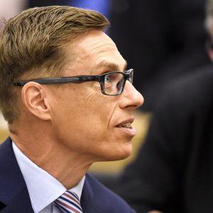 Kokoomuksen kansanedustaja Alexander Stubb eduskunnan täysistunnossa Helsingissä 22. kesäkuuta 2017.