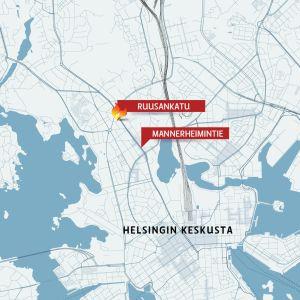 Helsingin kaupungin kartta, johon on merkitty Mannerheimintie ja Ruusankatu.