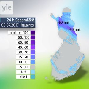 Sademäärät kuvattuna kartalla