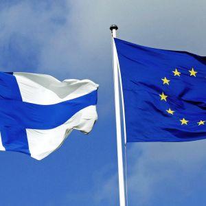 Suomen ja EU:n liput salossa.