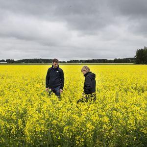 Maanviljelijät Tuomas ja Satu Levomäki rapsipellollaan.