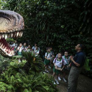 Pensaikosta kurkisteleennollisen kokoinen T. rex -robotti. Puiston opas kertoo siitä koulupukuiselle joukolle alakouluikäisiä lapsia.