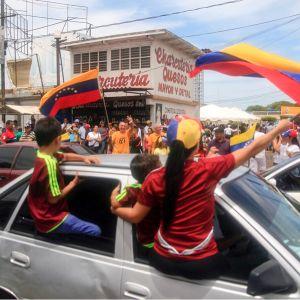 autosta heilutetaan lippuja mielenosoittajille kadulla