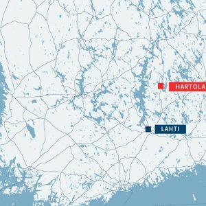 Suomen kartta jossa hartola