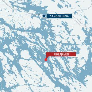 kartta jossa Savonlinna ja Pihlajavesi