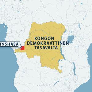 Kongon demokraattinen tasavalta -kartta.