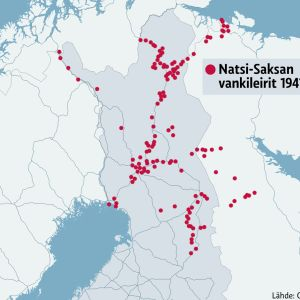 Kartta saksalaisista vankileireistä sodan aikana.