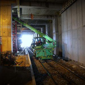 Pasila Tripla työmaa junaseisaus
