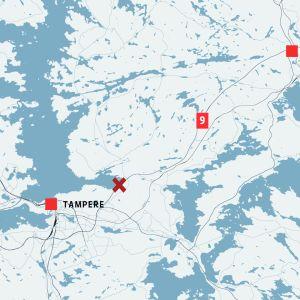 Kartta, johon on merkitty Tampereen ja Oriveden välisellä 9-tiellä sattunut onnettomuus.