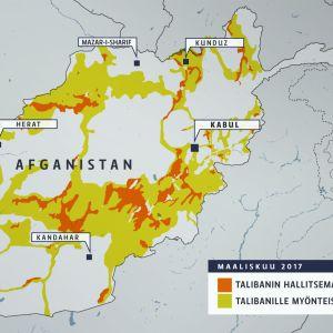 Talibanin hallitsemat alueet Afganistanissa.