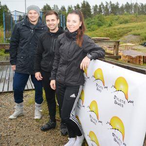 Athlete Gym järjestäjät Joel Niemelä, Veijo Lintunen ja Brenda Aalto.